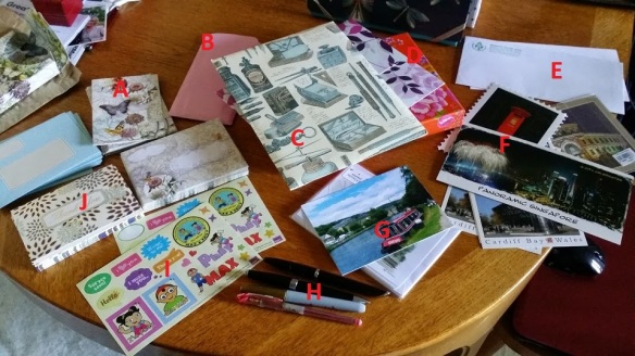 The contents of the correspondence box include sets of notecards, letter sets, a handful of pens, some stickers and a variety of postcards.